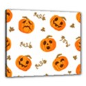 Funny Spooky Halloween Pumpkins Pattern White Orange Canvas 24  x 20  (Stretched) View1
