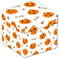 Funny Spooky Halloween Pumpkins Pattern White Orange Storage Stool 12   by HalloweenParty
