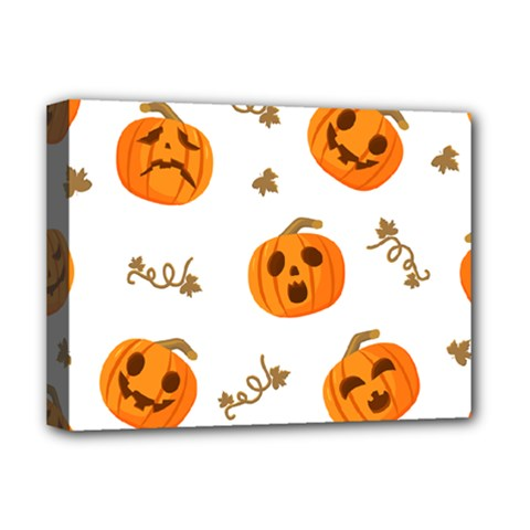 Funny Spooky Halloween Pumpkins Pattern White Orange Deluxe Canvas 16  X 12  (stretched)