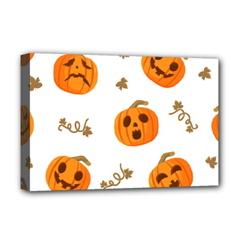 Funny Spooky Halloween Pumpkins Pattern White Orange Deluxe Canvas 18  X 12  (stretched)