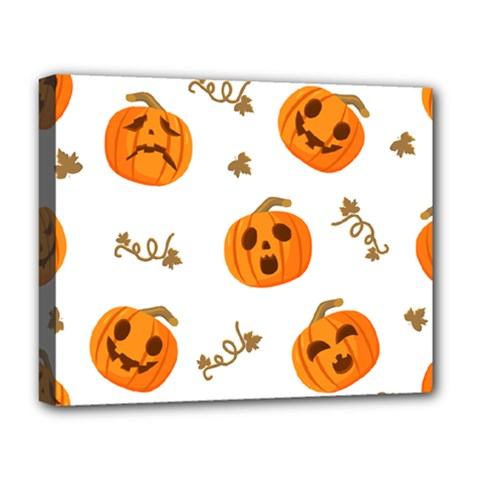 Funny Spooky Halloween Pumpkins Pattern White Orange Deluxe Canvas 20  X 16  (stretched)
