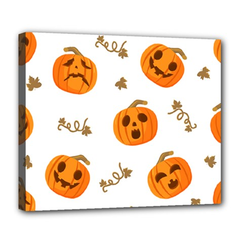 Funny Spooky Halloween Pumpkins Pattern White Orange Deluxe Canvas 24  X 20  (stretched)