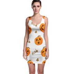 Funny Spooky Halloween Pumpkins Pattern White Orange Bodycon Dress
