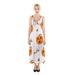 Funny Spooky Halloween Pumpkins Pattern White Orange Sleeveless Maxi Dress by HalloweenParty