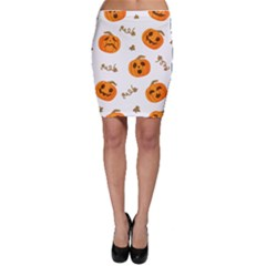 Funny Spooky Halloween Pumpkins Pattern White Orange Bodycon Skirt