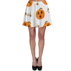 Funny Spooky Halloween Pumpkins Pattern White Orange Skater Skirt
