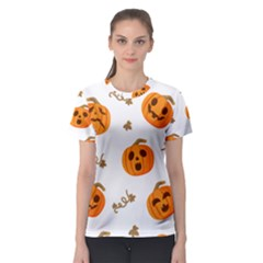 Funny Spooky Halloween Pumpkins Pattern White Orange Women s Sport Mesh Tee