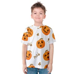 Funny Spooky Halloween Pumpkins Pattern White Orange Kids  Cotton Tee