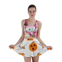 Funny Spooky Halloween Pumpkins Pattern White Orange Mini Skirt
