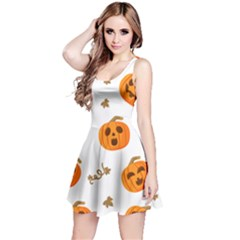 Funny Spooky Halloween Pumpkins Pattern White Orange Reversible Sleeveless Dress