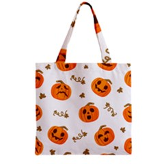 Funny Spooky Halloween Pumpkins Pattern White Orange Grocery Tote Bag