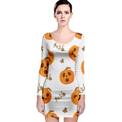 Funny Spooky Halloween Pumpkins Pattern White Orange Long Sleeve Bodycon Dress