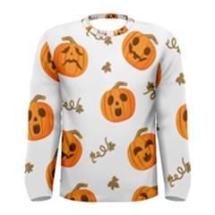 Funny Spooky Halloween Pumpkins Pattern White Orange Men s Long Sleeve Tee