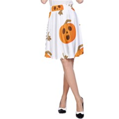 Funny Spooky Halloween Pumpkins Pattern White Orange A Line Skirt