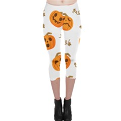 Funny Spooky Halloween Pumpkins Pattern White Orange Capri Leggings