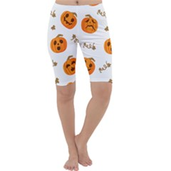 Funny Spooky Halloween Pumpkins Pattern White Orange Cropped Leggings