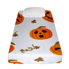 Funny Spooky Halloween Pumpkins Pattern White Orange Fitted Sheet (single Size)