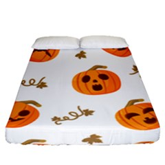 Funny Spooky Halloween Pumpkins Pattern White Orange Fitted Sheet (queen Size)