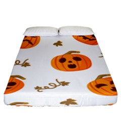 Funny Spooky Halloween Pumpkins Pattern White Orange Fitted Sheet (king Size)
