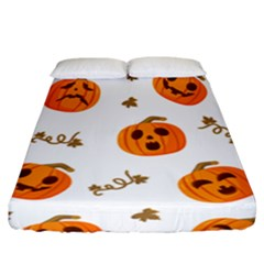 Funny Spooky Halloween Pumpkins Pattern White Orange Fitted Sheet (california King Size)