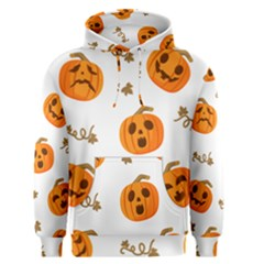 Funny Spooky Halloween Pumpkins Pattern White Orange Men s Pullover Hoodie