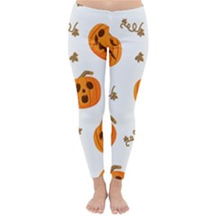 Funny Spooky Halloween Pumpkins Pattern White Orange Classic Winter Leggings