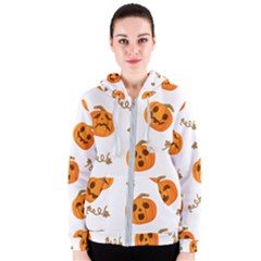 Funny Spooky Halloween Pumpkins Pattern White Orange Women s Zipper Hoodie