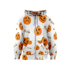 Funny Spooky Halloween Pumpkins Pattern White Orange Kids  Zipper Hoodie