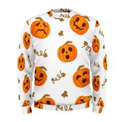 Funny Spooky Halloween Pumpkins Pattern White Orange Men s Sweatshirt