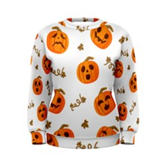 Funny Spooky Halloween Pumpkins Pattern White Orange Women s Sweatshirt