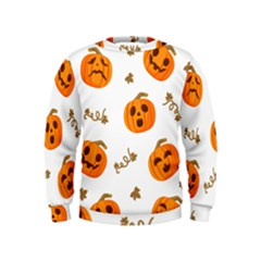 Funny Spooky Halloween Pumpkins Pattern White Orange Kids  Sweatshirt