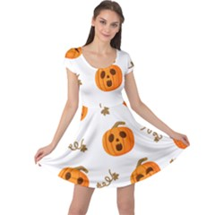 Funny Spooky Halloween Pumpkins Pattern White Orange Cap Sleeve Dress
