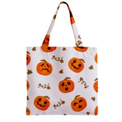 Funny Spooky Halloween Pumpkins Pattern White Orange Zipper Grocery Tote Bag