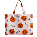 Funny Spooky Halloween Pumpkins Pattern White Orange Zipper Mini Tote Bag View1