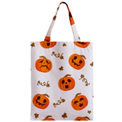 Funny Spooky Halloween Pumpkins Pattern White Orange Zipper Classic Tote Bag