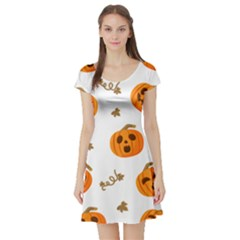 Funny Spooky Halloween Pumpkins Pattern White Orange Short Sleeve Skater Dress