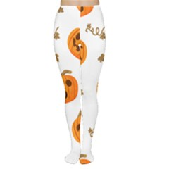 Funny Spooky Halloween Pumpkins Pattern White Orange Tights