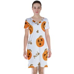 Funny Spooky Halloween Pumpkins Pattern White Orange Short Sleeve Nightdress