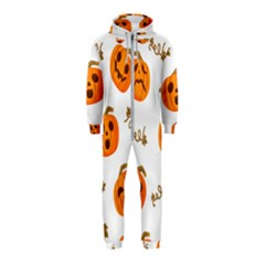 Funny Spooky Halloween Pumpkins Pattern White Orange Hooded Jumpsuit (kids)