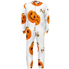 Funny Spooky Halloween Pumpkins Pattern White Orange Onepiece Jumpsuit (men)