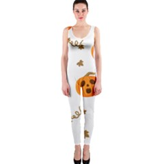 Funny Spooky Halloween Pumpkins Pattern White Orange One Piece Catsuit