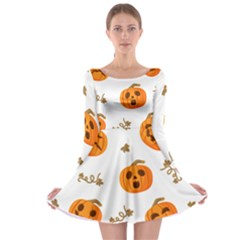 Funny Spooky Halloween Pumpkins Pattern White Orange Long Sleeve Skater Dress