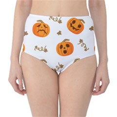 Funny Spooky Halloween Pumpkins Pattern White Orange Classic High Waist Bikini Bottoms