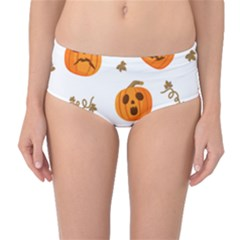 Funny Spooky Halloween Pumpkins Pattern White Orange Mid Waist Bikini Bottoms