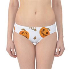 Funny Spooky Halloween Pumpkins Pattern White Orange Hipster Bikini Bottoms