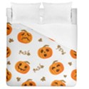 Funny Spooky Halloween Pumpkins Pattern White Orange Duvet Cover (Queen Size) View1