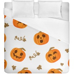Funny Spooky Halloween Pumpkins Pattern White Orange Duvet Cover (king Size)