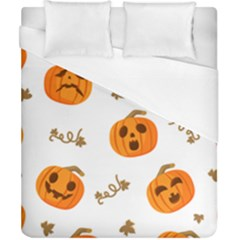 Funny Spooky Halloween Pumpkins Pattern White Orange Duvet Cover (california King Size)