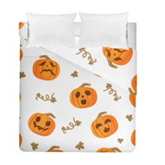 Funny Spooky Halloween Pumpkins Pattern White Orange Duvet Cover Double Side (full/ Double Size)