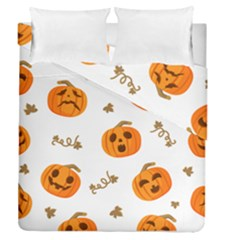 Funny Spooky Halloween Pumpkins Pattern White Orange Duvet Cover Double Side (queen Size)